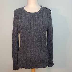 Gray and silver metallic soft crew sweater